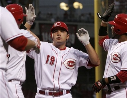 Cincinnati Reds' Joey Votto (19) is congratulated by Edwin Encarnacion, right, and Adam Dunn, left, after Votto hit a three-run home run off Milwaukee Brewers pitcher Jeff Suppan in the second inning of a baseball game Saturday, Sept. 8, 2007, in Cincinnati. (AP Photo/David Kohl)