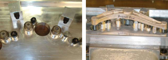 Above Left to Right: A LAAG fixture. A workpiece mounted in a LAAG fixture, ready to machine.Photos courtesy of Pennsylvania State University.