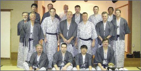 The Mitsui Seiki sponsored group at the Onsen Hotel before dinner. Far right: Scott Walker, to his left, Roy Kawakami.